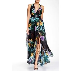 TOV Los Angeles | Lace Up Floral Slit Maxi Dress